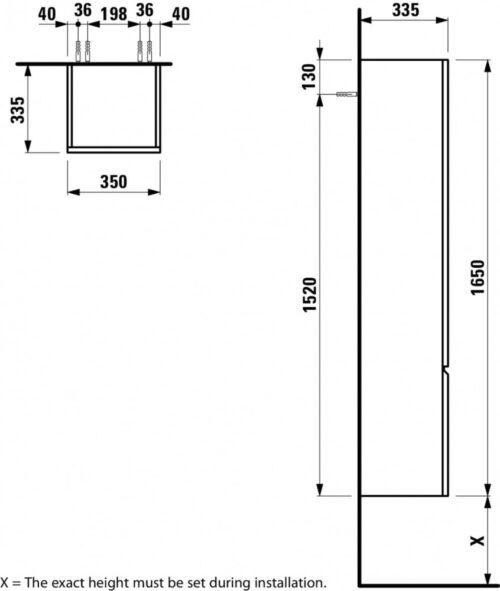Шкаф подвесной высокий Laufen Pro S Яркий дуб 483122
