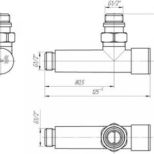 Кран угловой удлиненный, G1/2″ комплект 2шт