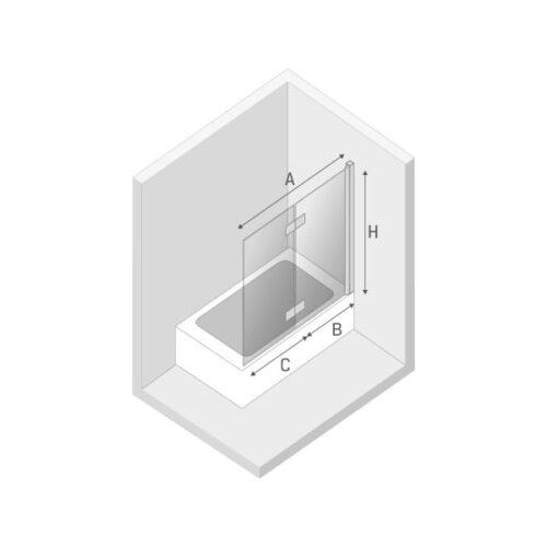 Ширма (шторка) для ванны NEW SOLEO (100x140) P-0029