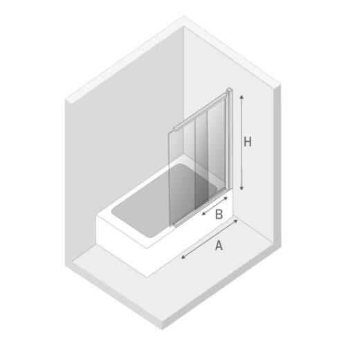 Ширма (шторка) для ванны  SENSI BLACK (85x150)