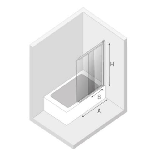 Ширма (шторка) для ванны  SENSI BLACK (100x150)