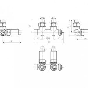 Терморегулируемый кран Марио 50мм, G1/2″ комплект