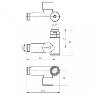 Кран угловой под ТЭН, G1/2″ комплект 2шт