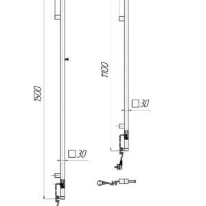 Электрический полотенцесушитель Рей Кубо-I 1500×30