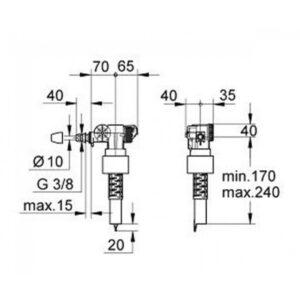 Grohe наполнительный клапан смыва без компенсатора смещения (37095000)