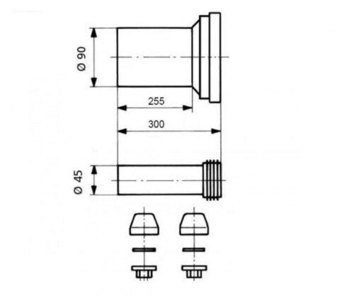 Патрубок для унитаза с трубкой SANIT 58.932.00..0000  Copy