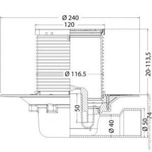 Трап для душа Jimten c решеткой нерж. ст.120х120 (213845)