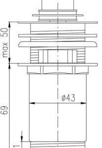 Донный клапан для раковины Rav Slezak MD0484 с регулируемой высотой