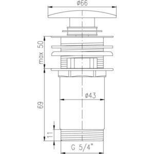 Донный клапан Rav-Slezak MD0484CMAT, черный