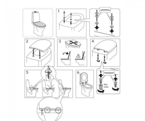 Сиденье для унитаза GUSTAVSBERG NORDIC 1919902055 из жесткого пластика с soft close