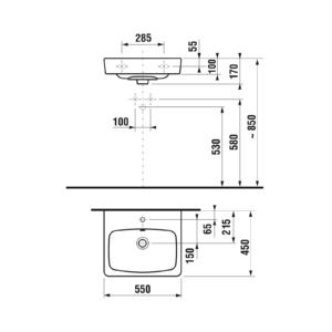 Умывальник прямоугольный  Лира Плюс 55см 1038.1