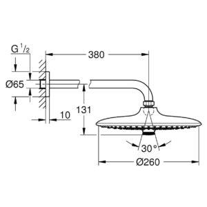 Верхний душ Grohe Euphoria 260 с душевым кронштейном 380 мм, 3 режима струи (26458000)