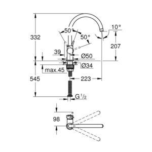 Смеситель Grohe BauClassic однорычажный для мойки (31234001)